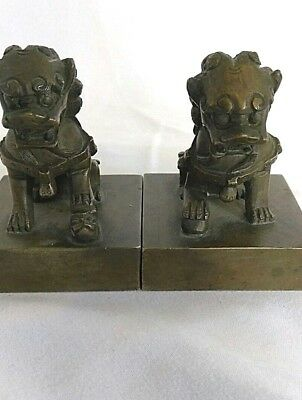 Pair of Chinese Shui Foo Dogs Lions Bronze Seal Stamps