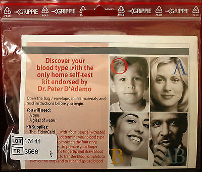 Eldoncard 2511 Home Blood Type Test Kit 4 Typing Blood North American Pharmacal
