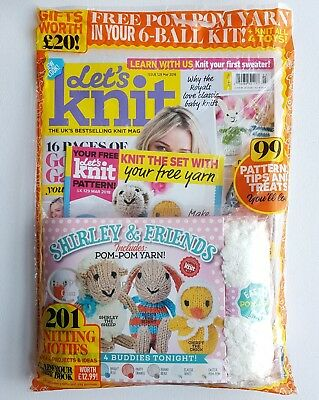 Let's Knit Issue 129 with Free Gift of Easter Pom Pom Yarn in 6 Ball Kit