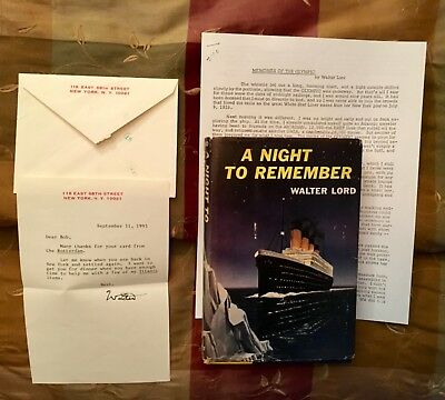 Titanic White Star Line Walter Lord Signed Letter A Night To Remember 1St/1St Ed