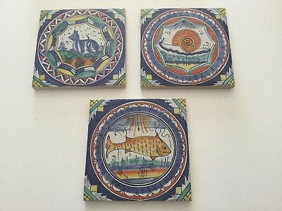 Hand Made & Hand Painted Portugal Tiles Set of 3, Animal, Fish, Insect Themes