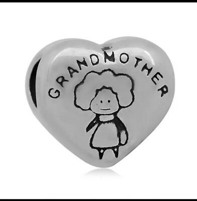 GRANDMOTHER Granny Gran Heart European Charm With Pink Gift Pouch - Silver Tone