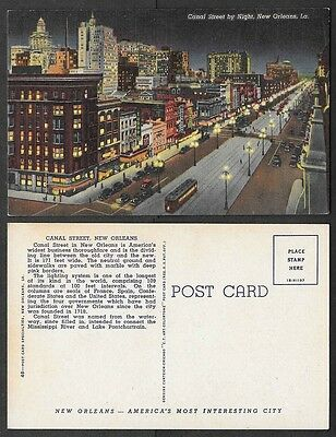 Old Louisiana Postcard - New Orleans - Canal Street Scene at Night