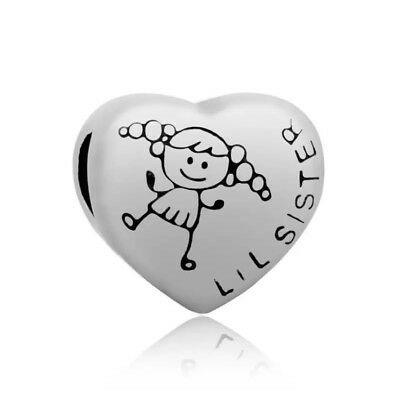 Lil Little SISTER Love Heart European Charm With Pink Gift Pouch - Silver Tone
