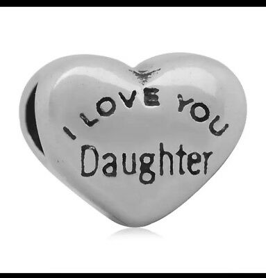 LOVE YOU DAUGHTER Child Heart European Charm With Pink Gift Pouch - Silver Tone