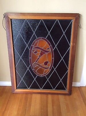 Wood Framed Vintage/ Antique Leaded Stained-Glass Window Panel with Z crest