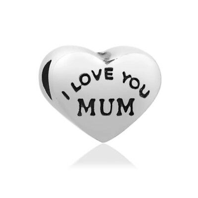 LOVE YOU MUM Mother Mam Heart European Charm With Pink Gift Pouch - Silver Tone