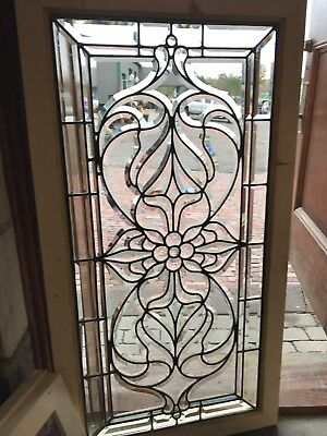 SG 2586 antique amazing all beveled glass landing window 24.5 x 46.25