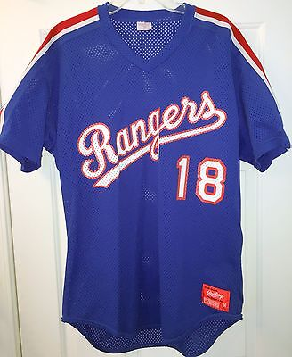 on sale a1b86 3c291 TEXAS RANGERS JERSEY #18 by Rawlings - Size 44 - Blue Pullover Mesh Vintage