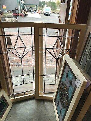 SG 2587 matched pair antique all beveled glass landing window 24 x 47