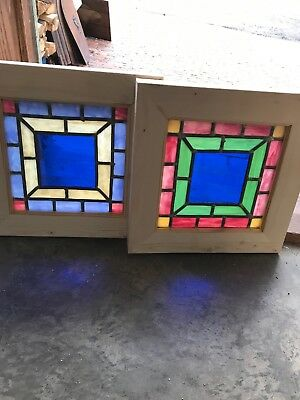 Sg 2588  Pair Antique Stain Glass Windows 13 1/16 Square
