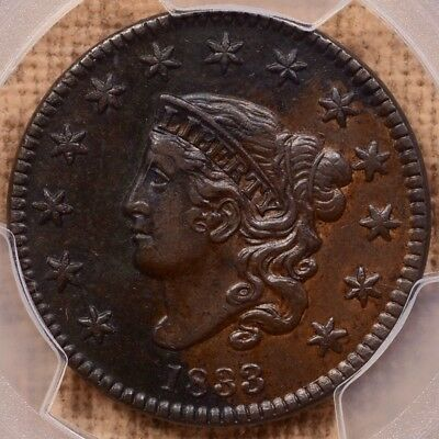 1833 N.3 Large cent, PCGS XF details, very appealing coin    DavidKahnRareCoins