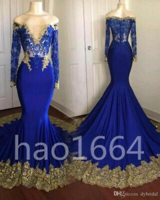 MERMAID ROYAL BLUE Prom Dresses Gold Appliques Long Sleeve ...