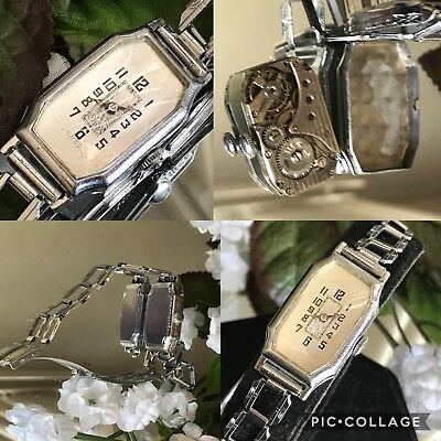 1924 Ladies Art Deco Brunvil Watch ~ Heavy Linked Band~Runs