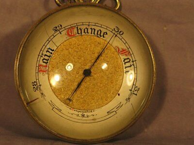 Rare English Antique Victorian Brass Case Magnifying Compensated Barometer C1885
