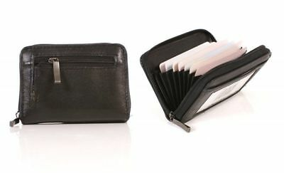 Real Leather Concertina Credit Card Holder Wallet ID Zip Coin Purse by Lorenz