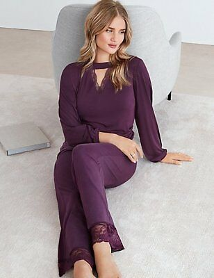 M&S ROSIE FOR AUTOGRAPH AUBERGINE LACE NECK TOP &/or  DRAWSTRING BOTTOM PYJAMAS