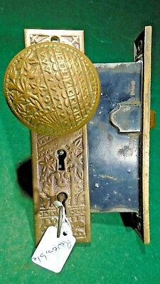 VINTAGE TRENTON DOUBLE KEYED ENTRY MORTISE LOCK w/KNOBS & PLATES (9639)