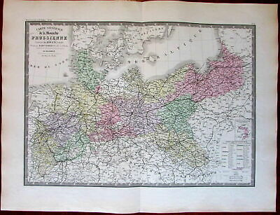 Prussia Poland Europe Germany 1875 Levasseur Brue large old engraved map