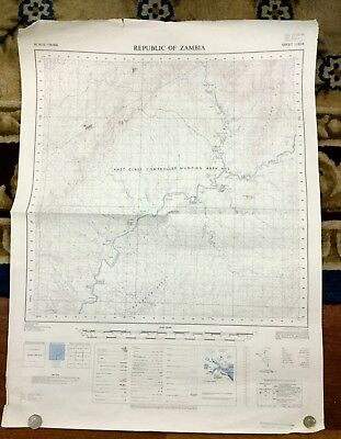 Vintage Map Africa  Republic of Zambia Government Big Game Hunting Reserve 1971