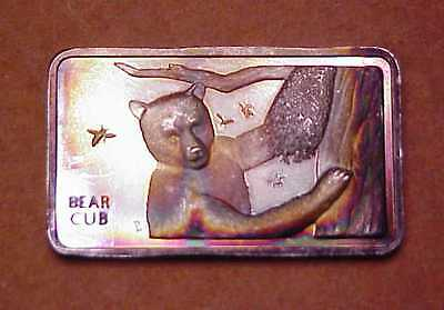 "1974 Mt Everest Mint ""bear Cub"" 1 Oz .999 Fine Silver Proof Bar Vintage"
