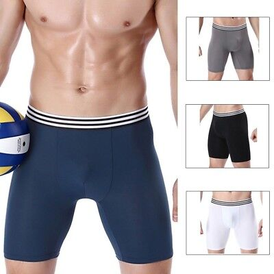 Mens Breathable Boxer Briefs Shorts Long Leg Sports Underwear Silky Soft Lot