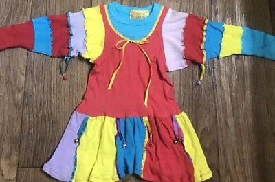 Vintage Prince Prints Girls Multicolored Jester Dress w/ Bells Size 4T
