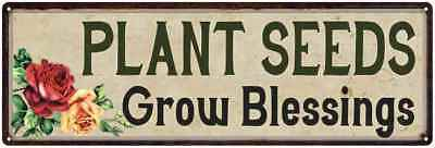Plant Seeds Grow Blessings Garden Patio Wall Décor  Metal Sign 106180016007