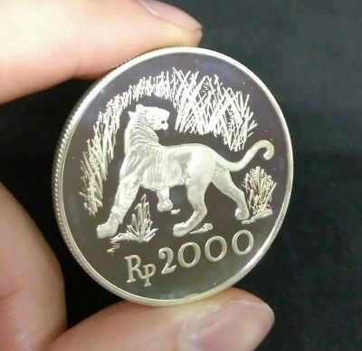 Indonesia 2000 Rupiah 1974 Big Silver Coin PROOF Coin Amazing Piece
