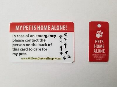 Pet Home Alone Key Chain Tag Wallet Card Emergency Contact Information Safety
