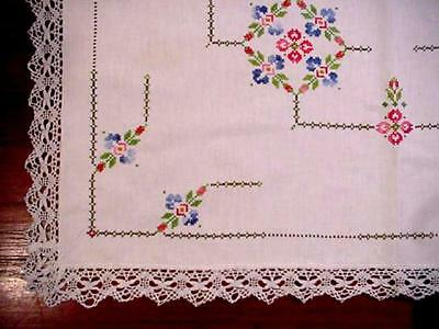 Vintage HAND EMBROIDERED Cottage Tablecloth WIDE LACE EDGE Geometric FLORAL Nice