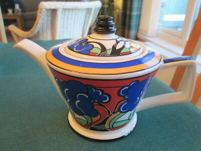 Clarice Cliff Style Art Deco Reproduction Teapot By Sadler