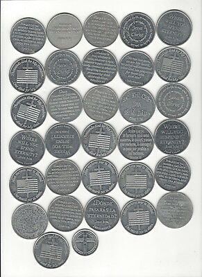 10. Lot Of 32 Relgious Aluminum Prayer Coins Mixed Lot Of English & Spanish