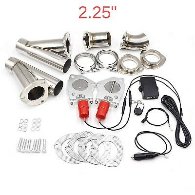 Double Exhaust 2.25 Inch Cutout Valve Set Electric Control System Dual Downpipe