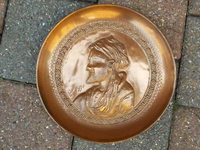 77 / Antique Middle Eastern Signed Repousse Copper Dish .
