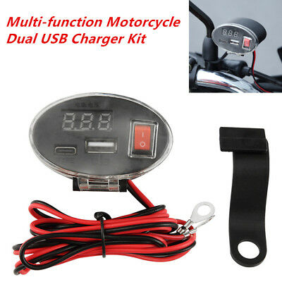 1Set Waterproof USB Motorcycle Handlebar Charger Socket w/ Switch &Mounts Black