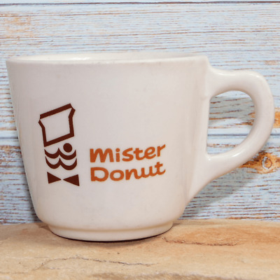 Mister Donut Mug Original Ceramic Advertising Restaurant Coffee Cup Mug Vintage