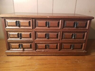 Vintage 7-drawer Wooden Box Jewelry Hand carved by MELE, Japan