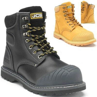 fcf1fdbde42 MENS JCB LEATHER Safety Work Boots Steel Toe Cap Zip / Lace Shoes Trainers  Size
