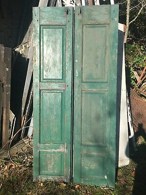 Vtg Pair Shabby Old  Wooden Window Shutters Architectural Salvage Screen 63 x14