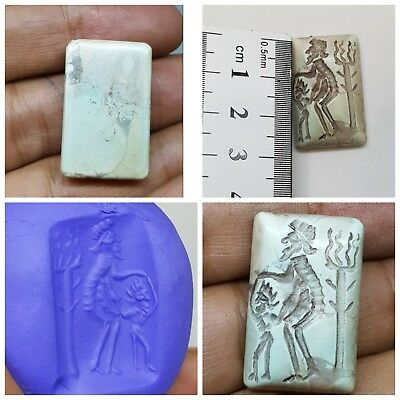 Medieval rare tourqise old father train son intaglio seal