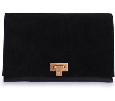 Tory Burch NEW Carmen Black Suede Leather Clutch Goldtone Clasp Dustcover $298