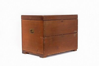 Antique Wood Box Field Desk Military Chest Rare 19th c. Officer's Box Desk Army