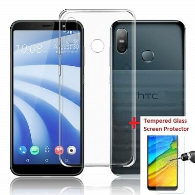 Ultra Thin Slim Clear Gel Case Cover And Glass Screen Protector For HTC U12 Life