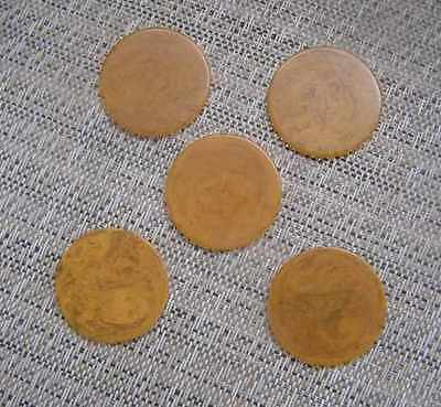 5 Butterscotch Bakelite/Catalin Poker Chips for Jewlery Making or crafts