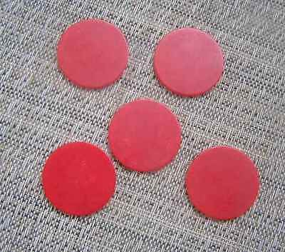 5 RED Bakelite/Catalin Poker Chips for Jewlery Making or crafts