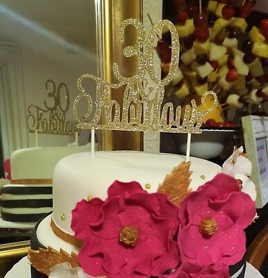 HAPPY BIRTHDAY  30th 40th 50th 60th 70th & FABULOUS GOLD GLITTER CAKE TOPPER NEW