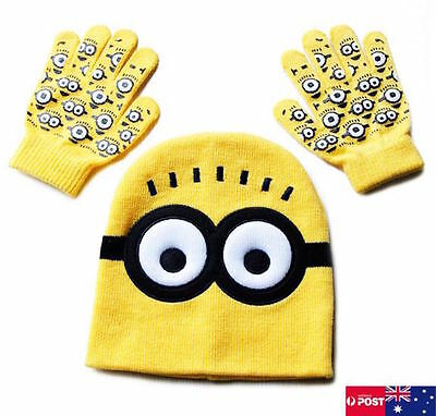 Despicable Me Minions 3D Knitted Winter Yellow Beanie Hat & Gloves Set Kids Boys