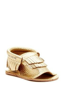 First Steps Girls Leather Moccasin Gold Sandal Size 4 (18-24 month) Baby NIB