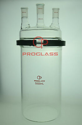 Proglass Glass Separate Flask 5000mL Three Necks with Easy Open PTFE Clamp
